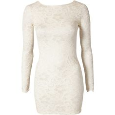 Lili London Lace Low Back Dress ($20) ❤ liked on Polyvore featuring dresses, vestidos, short dresses, tops, cream, party dresses, white cocktail dresses, tall dresses, cream lace dress and mini dress