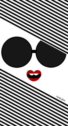 Edna Bee // Big Sunnies + Red Lips Digital iPhone Wallpaper