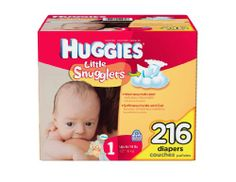 Huggies Little Snugglers Diapers, Size 1 (Up to 14 Lbs.), 216 Count. Size:1. Fits:Up to 14 lbs.. Count: 216. Pocketed waistband. Cushiony soft.  #Huggies #Health_and_Beauty