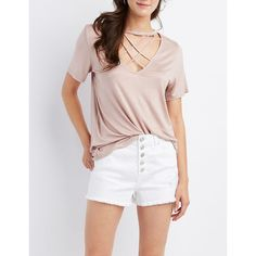 Charlotte Russe Lattice Cut-Out Tee ($12) ❤ liked on Polyvore featuring tops, t-shirts, mauve, embellished t shirts, embellished top, short sleeve tee, short sleeve crew neck t shirt and charlotte russe