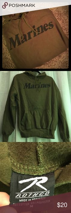 🚨LAST CHANCE Marines Military Issue Hoodie Marines Military Issue Hooded Sweatshirt. (Army Navy Store). Brand is Rothco. Size Medium. Good preloved condition my husband just doesn't wear it as much as he should! Olive drab green color with black marine logo. Smoke free and pet free home! Always open to offers and bundling Rothco Shirts Sweatshirts & Hoodies