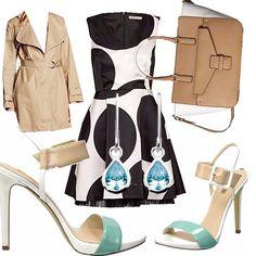 Outfit pensato per una donna in carriera ma che non rinuncia all eleganza, abitino fantasia bianco-nero con scollo a v, trench sabbia abbinato ad un sandalo con tacco a spillo bianco-beige-verde acqua