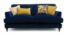 Joules Velvet 3 Seater Sofa Patterdale Velvet Discover pure comfort and make an impact with the bold Patterdale, featuring deep filled seats and statement scatter cushions. Blue Velvet Sofa Living Room, Blue And Gold Living Room, Velvet Corner Sofa, Navy Living Rooms, Small Chaise Sofa, Mustard Living Rooms, Navy Sofa, Navy Blue Velvet Sofa, Blue Sofas