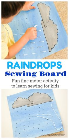 Sew 'rain drops' (yarn) onto a DIY cardboard sewing board. We use a plastic yarn needle which is easy and safe for children to handle. This is a great motor skill activities for toddlers and preschoolers to learn basic sewing. - Happy Tot Shelf