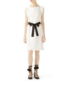 W09UC Gucci Wool-Silk Belted Dress