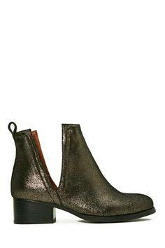 Jeffrey Campbell Oriley Ankle Boot - Pewter #shoes #footwear #womens #fashion #neutral #closedtoe #cutout #heel