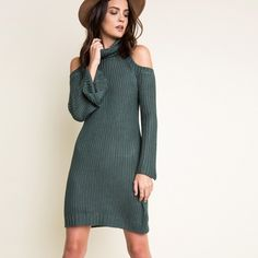 """""""Dyed Carnations"""" Cold Shoulder Turtleneck Dress Knitted cold shoulder turtleneck dress. Available in hunter green and taupe. This listing is for the HUNTER GREEN. Brand new. True to size. 100% rayon. NO TRADES DON'T ASK. PRICE FIRM. Bare Anthology Dresses Mini"""