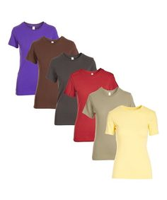 Pima Apparel Light Yellow Crewneck Tee - Set of Six | Zulily