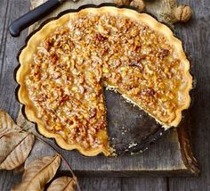 Walnut Caramel Tart/Pie - Combine crunchy nuts with caramel flavours in this open shortcrust pastry pie with a creamy, sticky filling Tarte Caramel, Caramel Tart, Bbc Good Food Recipes, Cooking Recipes, Yummy Food, Roast Chicken Pie, Desserts With Biscuits, Shortcrust Pastry
