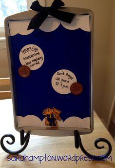 University of Kentucky magnetic memo board made from baking sheet.