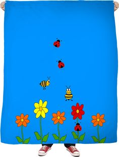 Summer Day Nature A whimsical nature blanket with flowers, bumble bees and cute little ladybugs.  Have a RageOn Day.