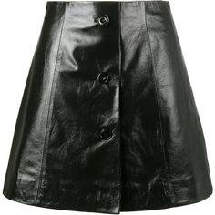 Olivier Theyskens mini A-line skirt (5 285 PLN) ❤ liked on Polyvore featuring skirts, mini skirts, black, theyskens' theory, real leather skirt, theyskens theory skirt, a-line skirts and a line mini skirt