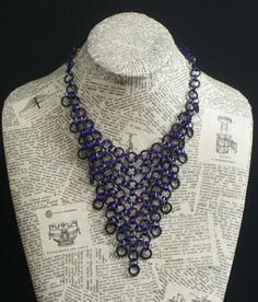 v shaped black rubber and purple aluminium chainmaille necklace