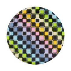Pastel Rainbow Black Outlined Squares Paper Plate