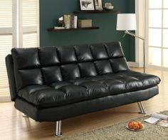 Monarch Specialties I9107 Leather Look Click Clack Futon in Black with Armless I9107 by Monarch Specialties. $537.00. This black leather-look click clack futon will be a nice addition to your home. Make the most of your valuable space, great for apartments, condos, or spare bedrooms. This convertible sofa has metal chrome legs and exquisite bisquet back cushioning that add texture to the piece. Comfortably lounge by day, and easily drop the back cushion to convert to a bed for ov...