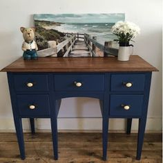 Lilyfield Life: Crushing on Navy furniture! Navy Furniture, Refurbished Furniture, Nautical Furniture, Navy Painted Furniture, Black Painted Furniture, Furniture, Wood Chair Makeover, Painted Wood Chairs, Navy Blue Decor