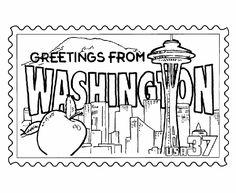 Washington State Stamp Coloring Page Washington State History
