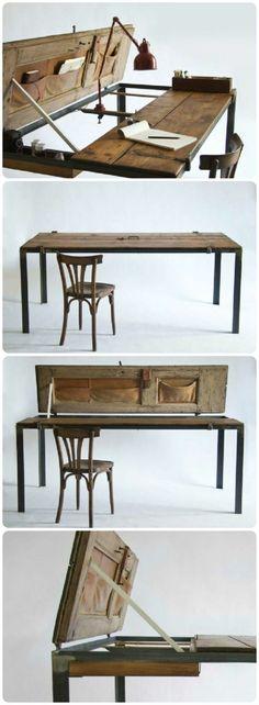 Repurposed :: Desk/Table   Created From Vintage Exterior Doors (u2026