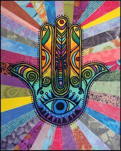 American Hippie Psychedelic Art Hamsa