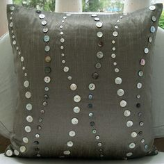 Decorative Throw Pillow Covers 16 Inch Grey Silk Pillow Cover Mother of Pearl Climbing to the Sky Home Living Decor Housewares Accent Pillow. $20.00, via Etsy.