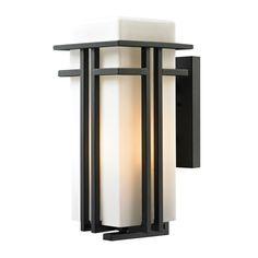 Elk Lighting 45087/1 Croftwell 1 Light Outdoor Wall Sconce Matte Black Outdoor Lighting Wall Sconces