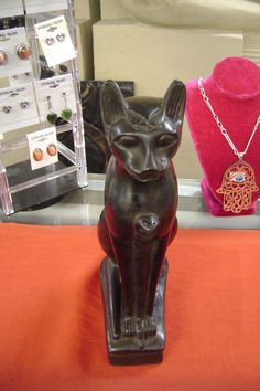 Unqiue Large Egyptian Cat Goddess Bastet Statue Hand by DeeEgypt
