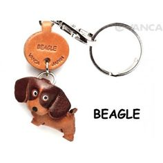 GENUINE 3D LEATHER BEAGLE DOG KEYCHAIN MADE BY SKILLFUL CRAFTSMEN OF VANCA CRAFT IN JAPAN.