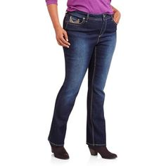 Faded Glory Women's Plus-Size Slim Bootcut Embellished Jeans with Backflap - Walmart.com