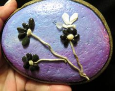 pebble art pebbleart painted rock stone ocean beach flower butterfly driftwood