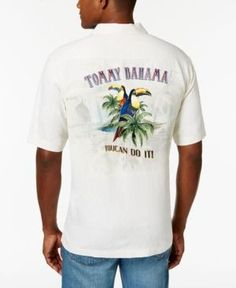 Tommy Bahama Men's Toucan Do It! Embroidered Silk Shirt - Tan/Beige 3XL