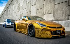 Download wallpapers Nissan GT-R, sports car, gold GT-R, tuning GTR, Japanese cars, Kuhl Racing