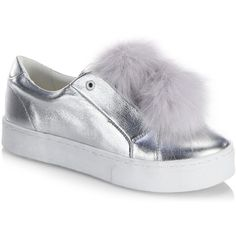 Sam Edelman Leya Metallic Faux Fur Pompom Accented Sneakers ($100) ❤ liked on Polyvore featuring shoes, sneakers, metallic sneakers, faux fur shoes, platform shoes, sam edelman sneakers and synthetic shoes