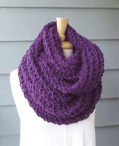 Oversized Infinity Scarf Cowl Chunky Wool Blend by ArtsyCrochet