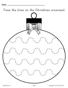 FREE Printable Christmas Ornament Tracing Worksheet With Narrow Wavy Lines! These 5 tracing worksheets are great for preschoolers and kindergartners. Get all five tracing printables here --> https://www.mpmschoolsupplies.com/ideas/7874/free-printable-christmas-ornament-line-tracing-worksheets/