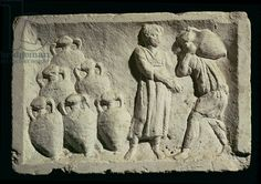 Stone relief depicting a delivery of wine and storage of amphorae (2nd cent. A.D. )- Museo della Civilta Romana, Rome,