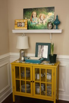Love the pop of yellow-Target Windham accent cabinet or maybe this one for the coffee station??? Torn between the red and the yellow...