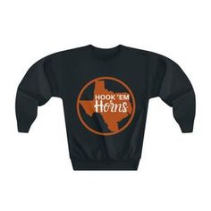 Hook Em Horns, Summer Evening, Carbon Footprint, My Black, Ems, Crew Neck Sweatshirt, Cool Things To Buy, Sweatshirts, Long Sleeve