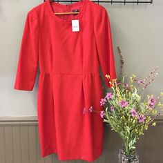 J. Crew Factory Fitted Waist Dress Orange fitted waist dress with round neck. 3/4 sleeve. Exposed zipper in back. NWT! J.Crew Factory Dresses Midi