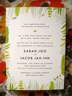 Wedding Invite...would look cute with the succulent design!
