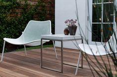 Indoor outdoor concrete and stainless steel table designed by kim nadel Indoor Outdoor Living, Outdoor Chairs, Outdoor Furniture, Outdoor Decor, Stainless Steel Table, Cali, Concrete, Minimalist, Inspiration
