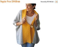 CLEARANCE 50% SALE Light Gray - Yellow Mohair Cardigan with Big Coconut Button by Afra Plus Size Over Size