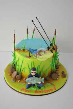 Fisherman Cake, Fishing Cakes, Fish Cake Birthday, Cake Design For Men, Buttercream Cake Designs, Ludo, 50th Cake, Fathers Day Cake, Mom Cake