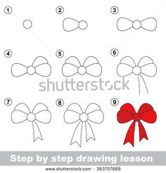 Step by step drawing tutorial. Vector kid game. How to draw a Bow
