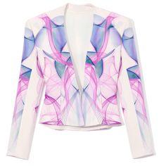Haryono Setiadi V-Neck Magenta Illusion Blazer ($960) ❤ liked on Polyvore featuring outerwear, jackets, blazers, blazer, coats, tops, magenta print, silk blazer, pink blazer and pattern jacket