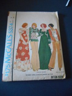 McCalls 5374 Vintage Maxi Dress Size 12 by MadkDesigns on Etsy, $5.99