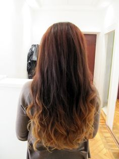 My new haircut,long,ombre hair in dark red and orange. fallforfall.blogspot.com