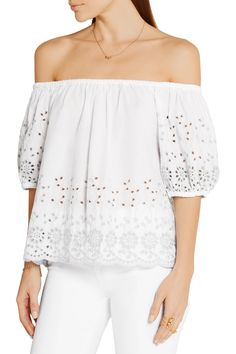 Shop on-sale See by Chloé Off-the-shoulder broderie anglaise cotton top. Browse other discount designer Tops & more on The Most Fashionable Fashion Outlet, THE OUTNET.COM