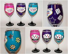 Super cute Las Vegas Bachelorette Party Wine Glasses. Perfect for gambling casino bachelorette partys! On etsy.