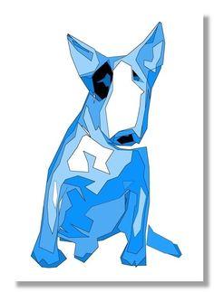 ENGLISH BULL TERRIER BLUE DOG  POP ART PRINT BRAND NEW 12 X 18 INCHES GIFT