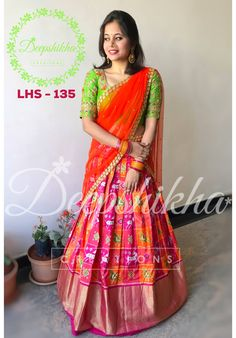 LHS - Beautiful pink and orange color combination lehenga and parrot green color blouse with orange color net dupatta. Blouse with hand embroidery thread work. For queries kindly WhatsApp : 9059683293 . Lehenga Crop Top, Half Saree Lehenga, Lehenga Blouse, Bridal Lehenga Choli, Silk Lehenga, Anarkali Dress, Saree Wedding, Anarkali Suits, Lehenga Designs
